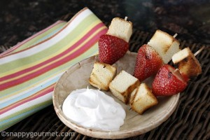 Mini-Grilled-Strawberry-Shortcake-Skewers from snappygourmet.com