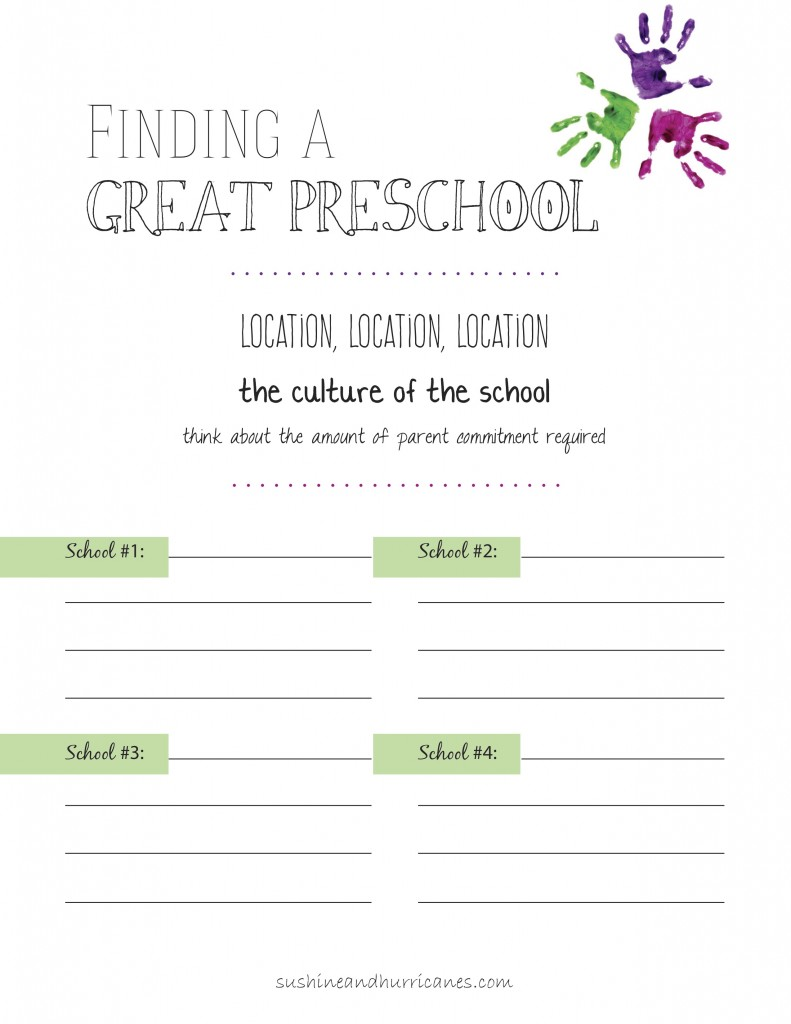 How to Choose a Great Pre-Schoool. sunshineandhurricanes.com