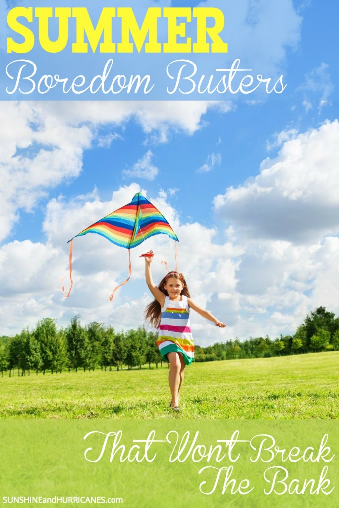 """After the first half day of summer vacation are your kids already saying """"I'm BORED""""? Don't worry, there are plenty of fun things kids can do with these long lazy summer days that will be creative, fun and even educational without having to spend a fortune. This post will give you plenty of good ideas and handy resources for keeping your sanity this summer. Summer Boredom Busters That Won't Break The Bank. SunshineandHurricanes.com"""