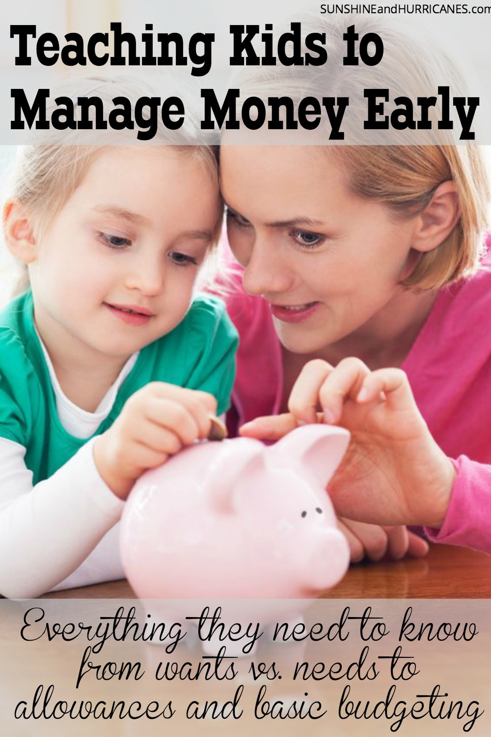 Did you know that if you help children develop healthy money habits early, they are more likely to carry them throughout life? There are many ways to help our children understand the value of a dollar using allowances, games and other basic skills practice. Teaching Kids to Manage Money Early. SunshineandHurricanes.com