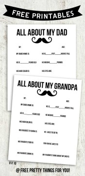 Father's Day Printable Round-Up. All About My Dad Mustache. SunshineandHurricanes.com