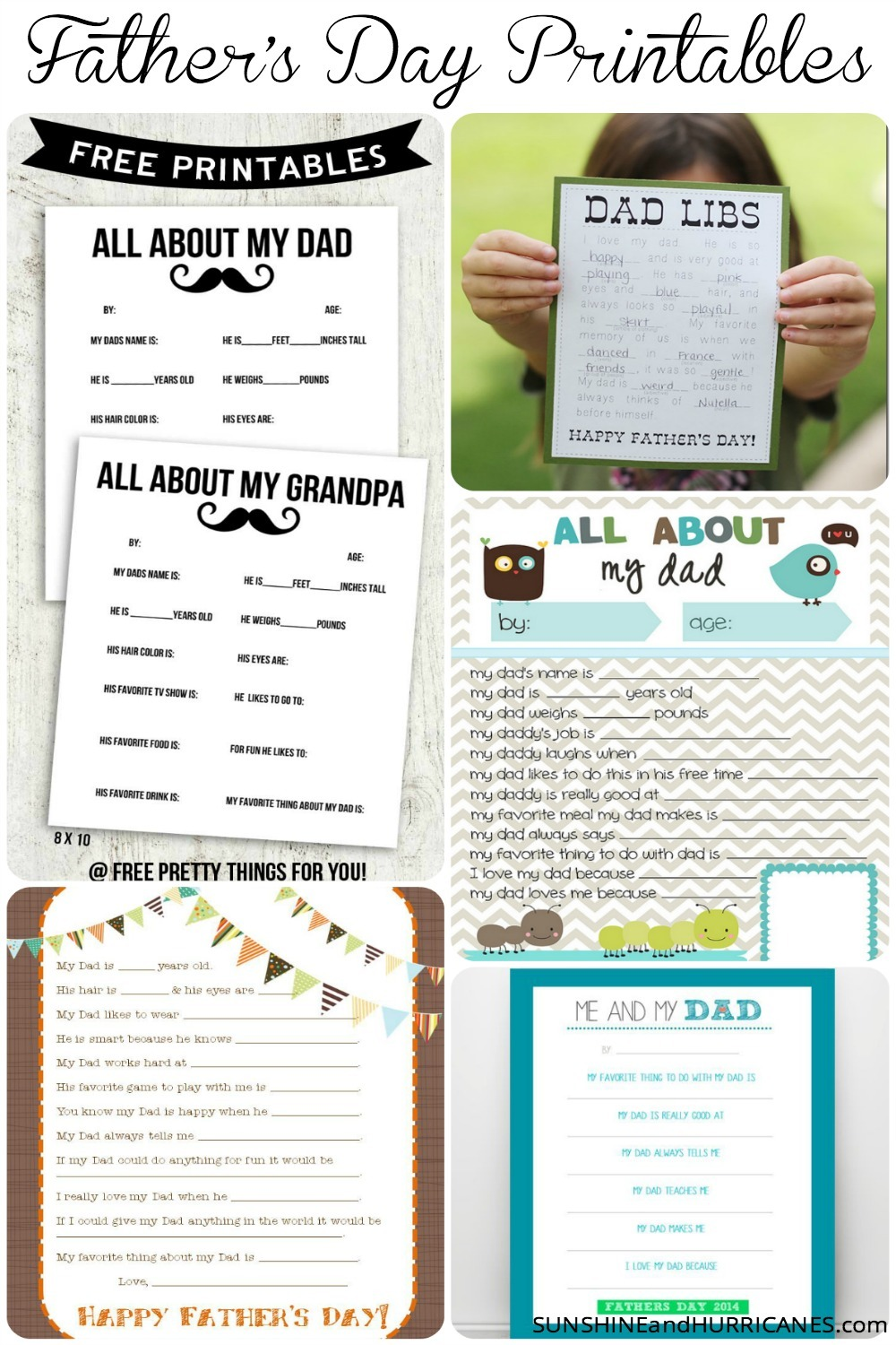 Looking for a sweet way to celebrate Dad this Father's Day? You don't have to spend much money, or any at all, to come up with a gift that will mean the world to your special guy. In this post you'll find a large selection of Father's Day questionnaire printables. Some are silly and some are touching and some are a little bit of both. Father's Day Printables Round Up. SunshineandHurricanes.com