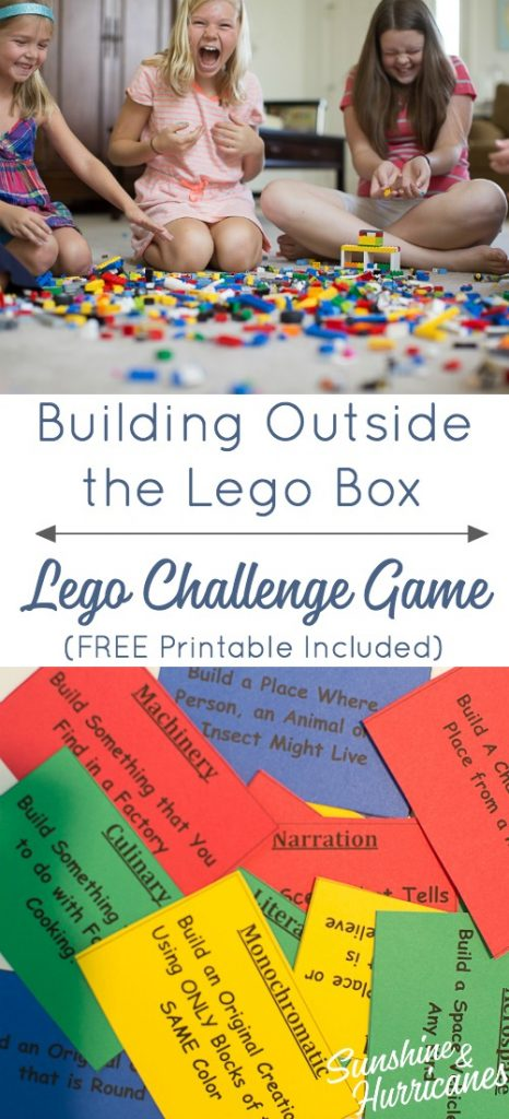 Get your kids thinking outside the lego box set with lego games like this lego challenge. Free printable challenge cards included