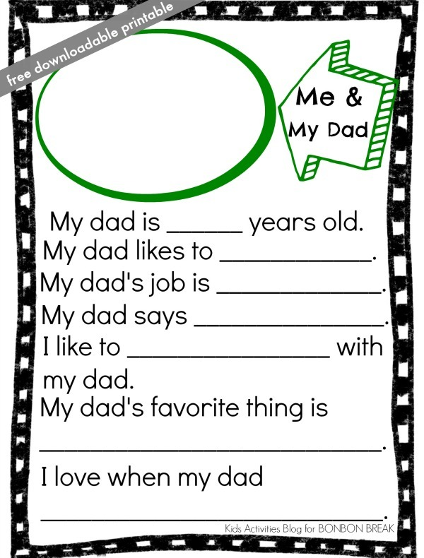 This is an image of Father's Day Questionnaire Free Printable for 20 question