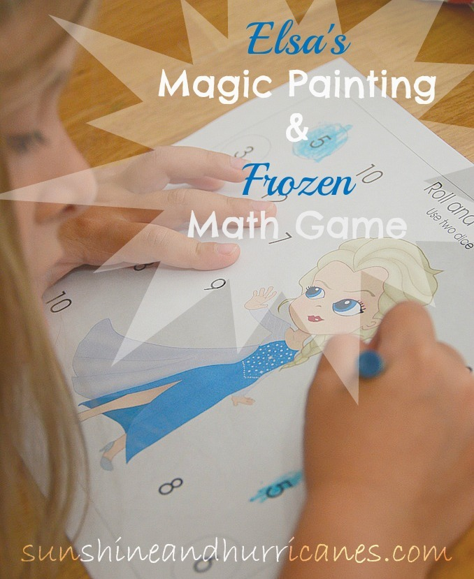 Elsa's Magic Painting and Frozen Math Game. A cool & magical project with Elsa's Magic Painting along with a math review game for preschoolers, all while celebrating the magic of Disney's Frozen!