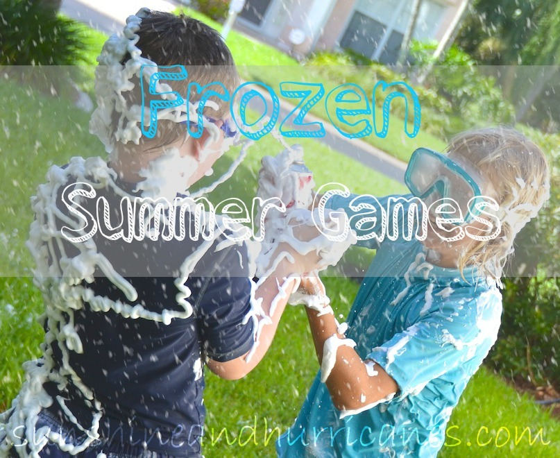 "Get some great ideas for Frozen Inspired Summer Games - Olaf's Snow Day in Summer, ""Catching"" Snowflakes and Snowball Fights."