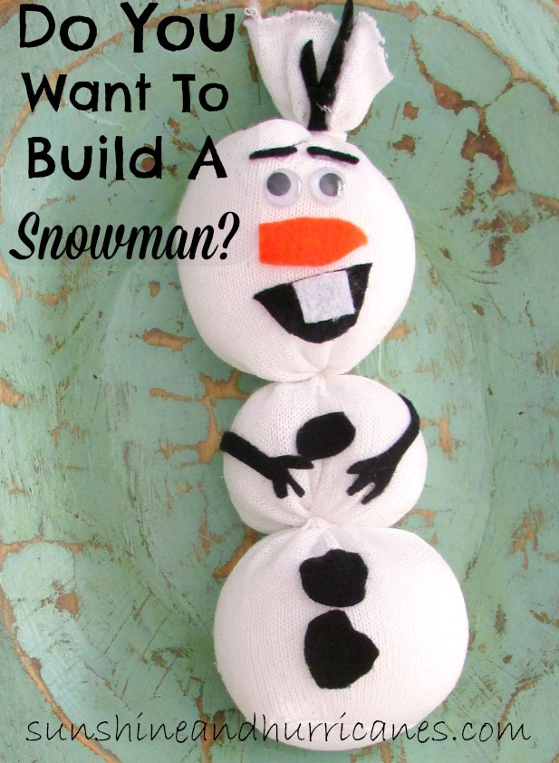 Create an Olaf toy from a sock and basic materials from around the house. Quick and simple party favor or group activity, frugal and inexpensive.