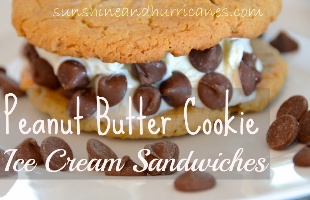 Peanut Butter Cookie Ice Cream Sandwiches Recipe - Sweet Treat for a Hot Day. Great for Kids and Parties.