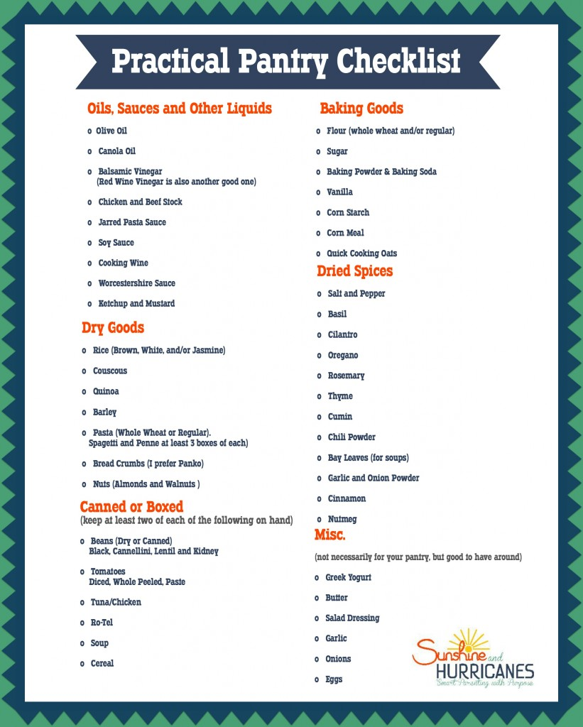 How to organize a pantry checklist