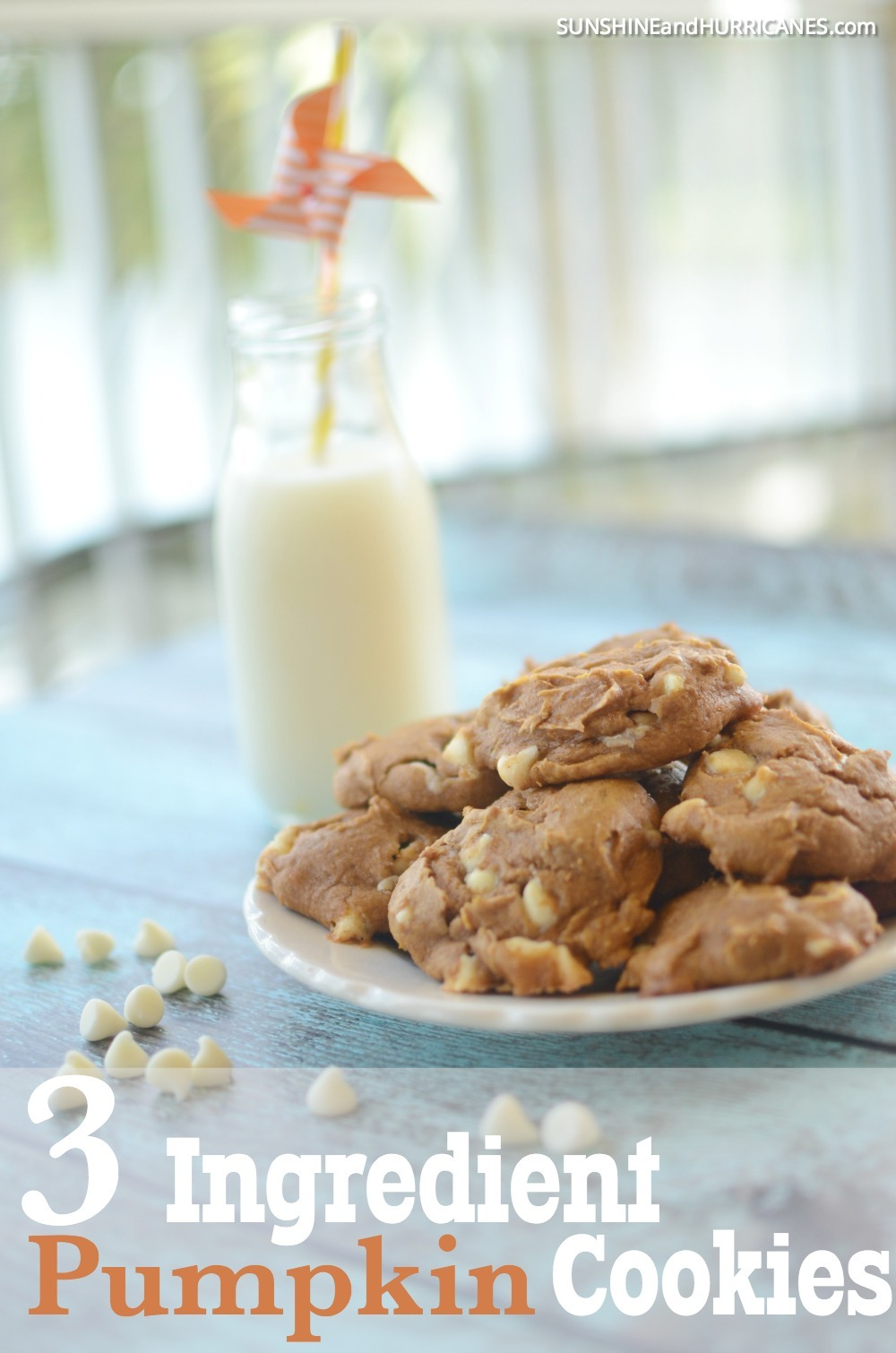 These ridiculously delicious and easy to make pumpkin cookies only use 3 ingredients. So simple and such a great treat for a fall gathering or Halloween party. Pumpkin Cookies from SunshineandHurricanes.com