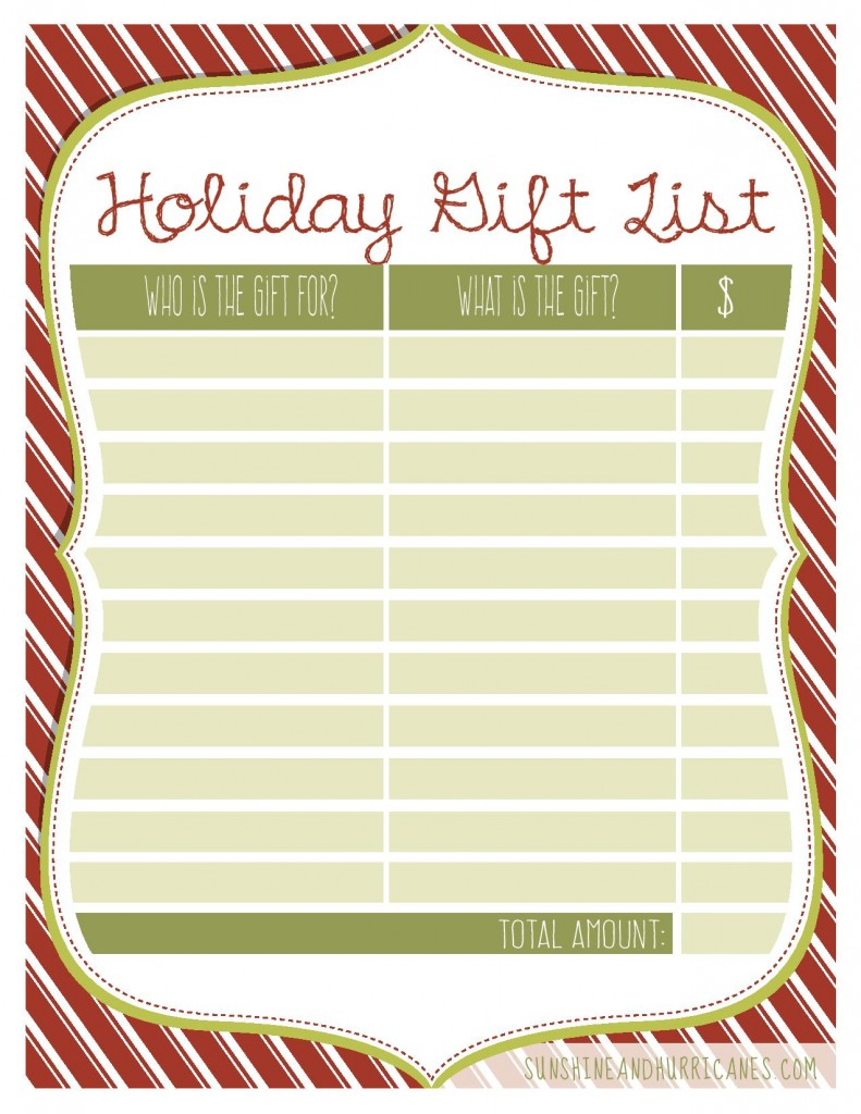 Holiday Gift List Printable