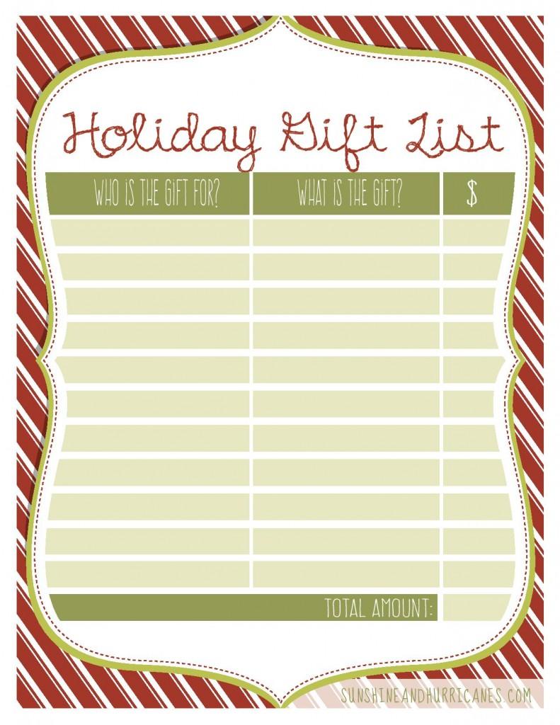 Holiday Gift List Printable