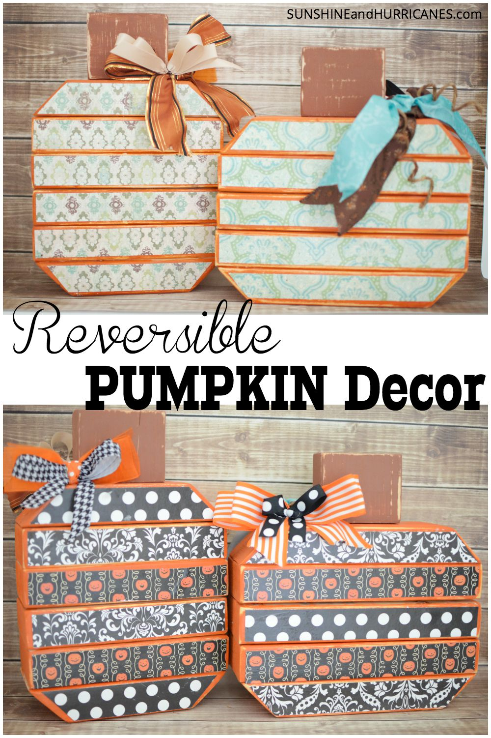 Looking for a super easy way to decorate for more than one season? This super cute Reversible Pumpkin Decor is a budget friendly craft that is super simple. A fun way to have both neutral fall decor and Holiday decor all in one. Reversible Pumpkin Decor. SunshineandHurricanes.com