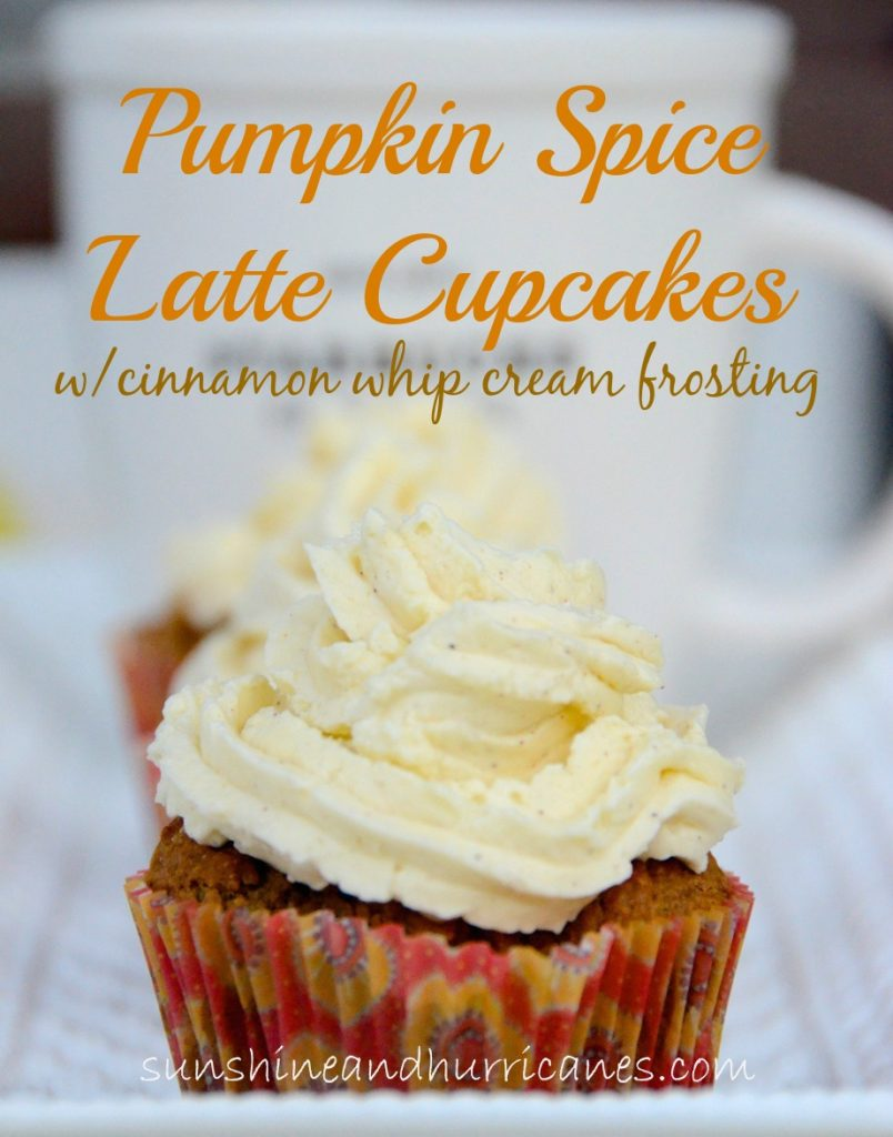 Pumpkin Spice Latte Cupcakes with Cinnamon Whipped Cream Frosting