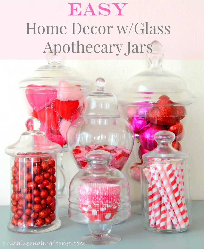 Looking for an easy and super budget friendly way to decorate for holidays that still looks high end? The answer  is Easy Home Decor with Glass Apothecary Jars. Versatile, Fun and Simple DIY Decor for Holidays or Anytime. sunshineandhurricanes.com