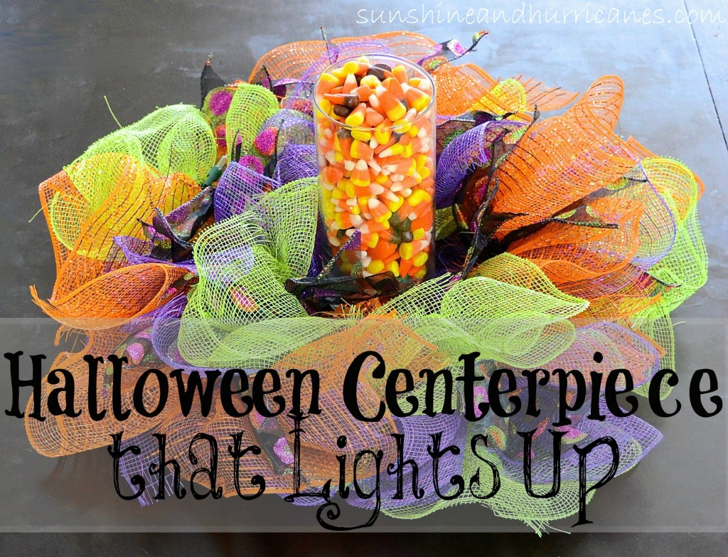 Quick craft to create a Halloween Light Up Centerpiece or wreath. Make it in under 30 minutes and enjoy for years to come.
