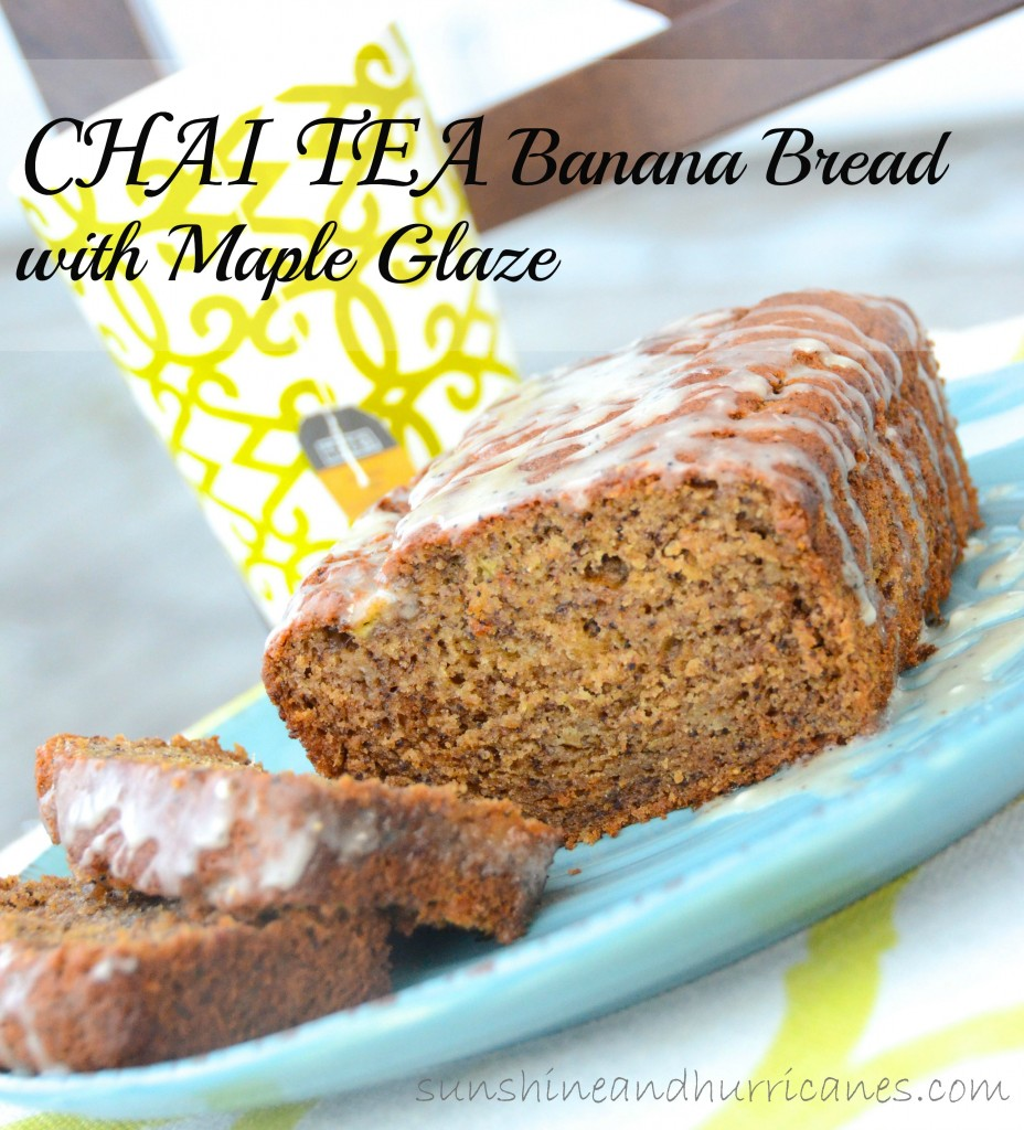 Chai Tea Banana Bread with Maple Glaze. A great treat for tailgating, parties, Thanksgiving, or any day!