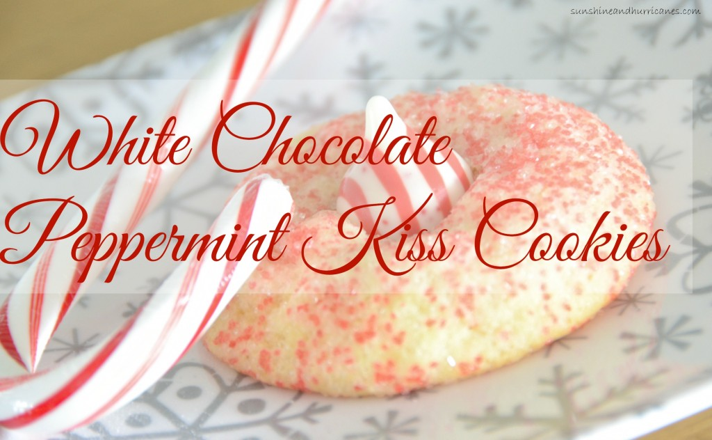 A perfect new addition to your Christmas Cookie Favorites. White Chocolate Peppermint Kiss Cookies. sunshineandhurricanes.com