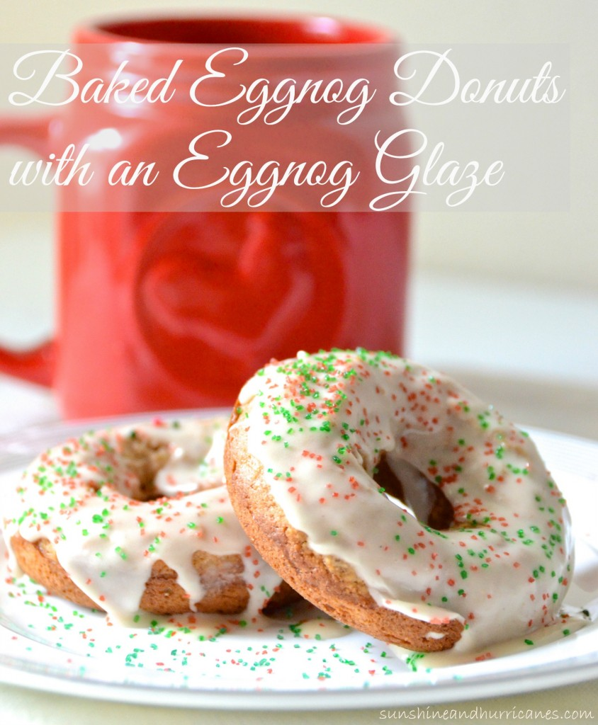 Baked Eggnog Donuts with eggnog glaze - A delicious holiday inspired breakfast recipe perfect for Christmas morning or any festive holiday occasion.