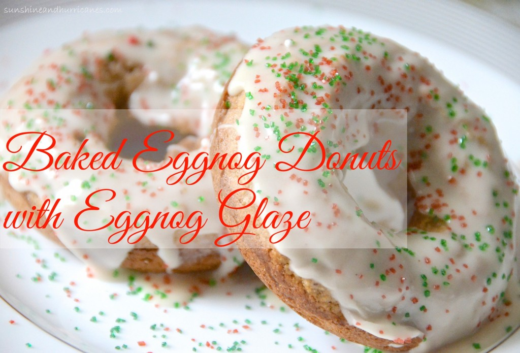 Baked Eggnog Donuts with Eggnog Glaze. A festive holiday breakfast ready that even those who don't care for eggnog will love. sunshineandhurricanes.com