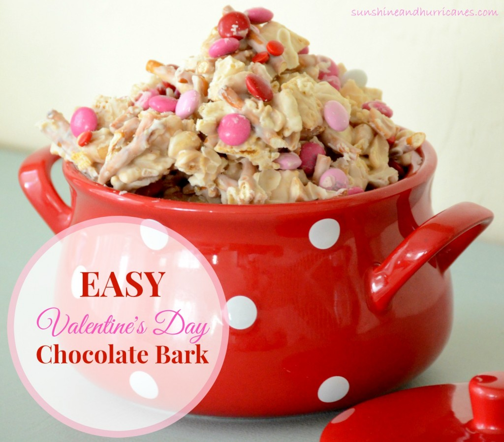 Looking for an sweet treat for Valentine's Day? Easy Valentine's Day Chocolate Bark is perfect for a class party or as a thoughtful gift for special people on Valentine's Day. sunshineandhurricanes.com