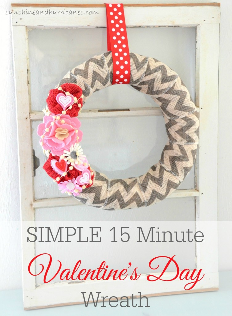 Looking for some quick, easy and budget friendly Valentine's Day Decor? It Doesn't Get Any Easier (Or CUTER) Than This Simple 15 Minute Valentine's Day Wreath. sunshineandhurricanes.com