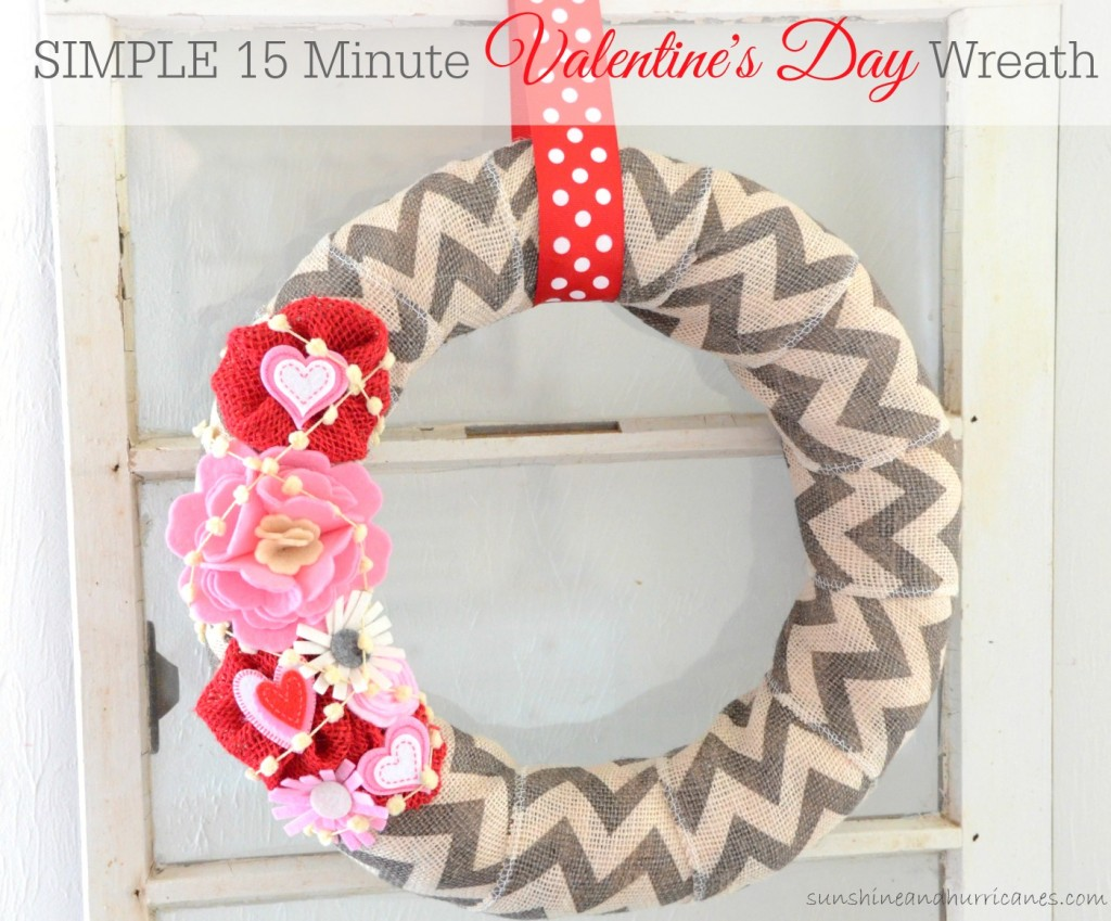 Looking for a Quick and Easy Way to Create Some Cute and Budget Friendly Valentine's Decor? This Simple 15 Minute Valentine's Day Wreath Would be Perfect! sunshineandhurricanes.com