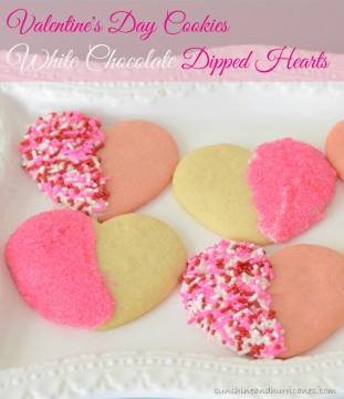 A Super Cute and Easy Valentine's Day Cookie, Great for School Parties or Just To Make the Occasion Special. Taste Yummy and Totally Adorable. Valentine's Day Cookies - White Chocolate Dipped Hearts