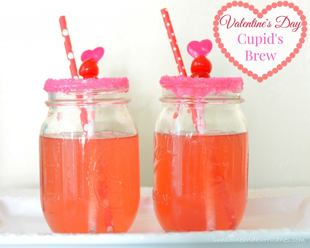 A quick and easy Valentine's Day Pink Drink perfect for all sorts of Valentine's Day Parties. Valentine's Day Cupid's Brew. sunshineandhurricanes.com