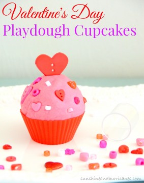 Super adorable and easy activity for Valentine's Day. Great for a school Valentine's day party or as a non-candy Valentine's day gift or treat. Valentine's Day Playdough Cupcakes. sunshineandhurricanes.com