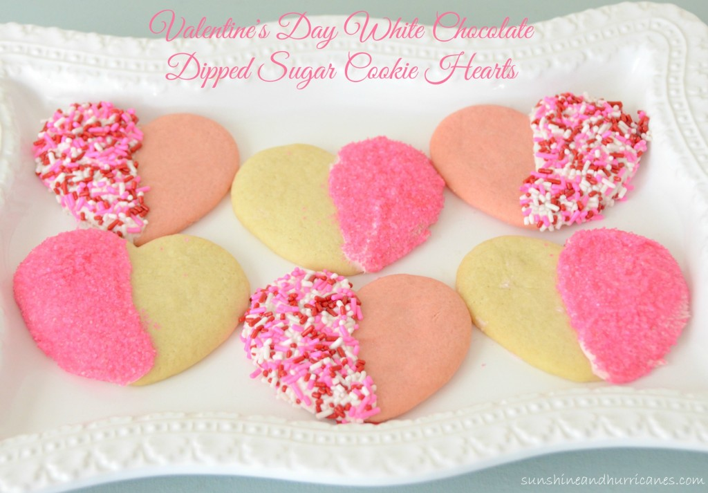 A Super Simple and Fun Cut-Out Cookie Idea for Valentine's Day. Great for a School Party or Other Special Occasions. Valentine's Day White Chocolate Dipped Sugar Cookie Hearts