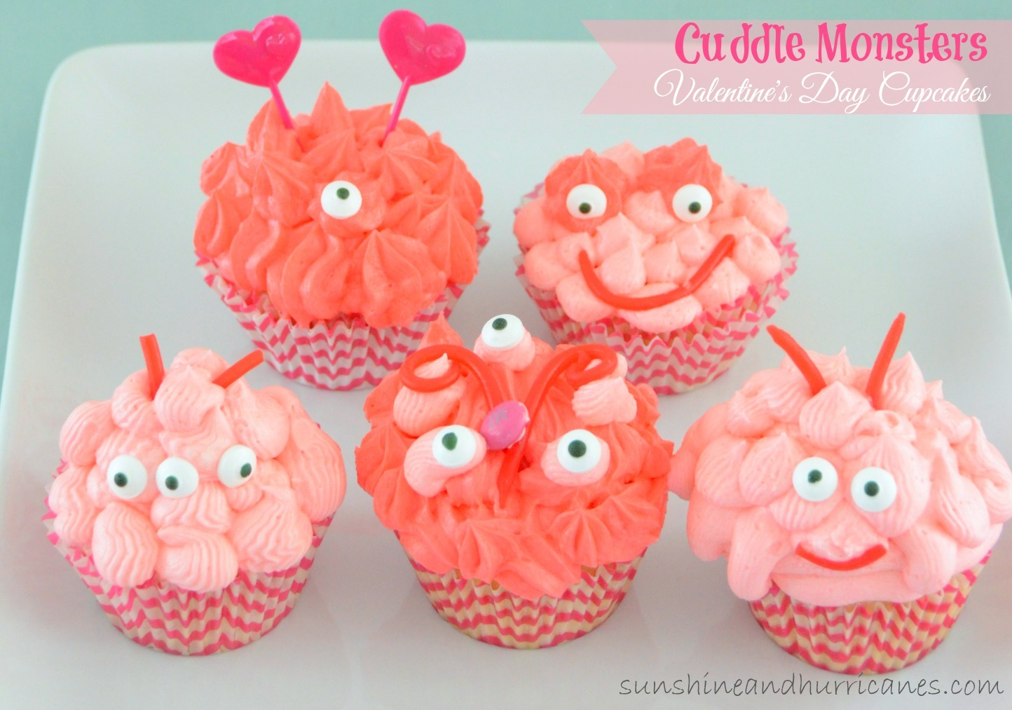 These cute little Valentine's Day Cupcakes are perfect for a class party or a baking day with the kids. Cuddle Monster Valentine's Day Cupcakes. sunshineandhurricanes.com
