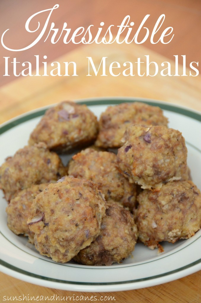 Looking for an easy meal that will please even your pickiest eaters. This recipe for Irresistible Italian Meatballs  is the perfect dinner solution. sunshineandhurricanes.com