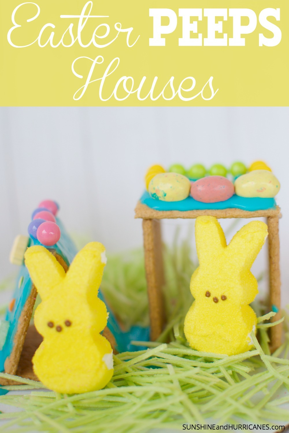 Looking for a fun Easter activity for kids? Here's a great way to put some of that Easter candy to use without it actually having to be eaten. Create little houses for those adorable PEEPS out of graham cracker and other Easter materials. Easter Peeps Houses. SunshineandHurricanes.com