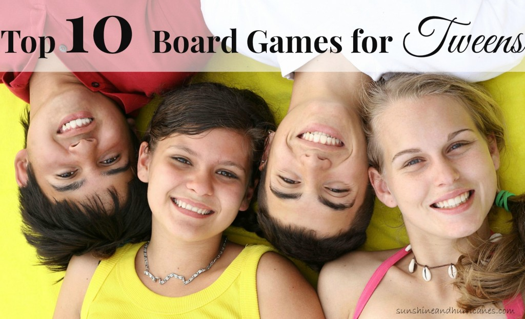 Looking for a fun way to engage with your tween? Board games have long been a way to bring families together for good old fashioned fun! Here you'll find a list of challenging, entertaining and age appropriate games that are certain to appeal to your tween (even the most challenging of the bunch). Top Ten Board Games for Tweens. sunshineandhurricanes.com