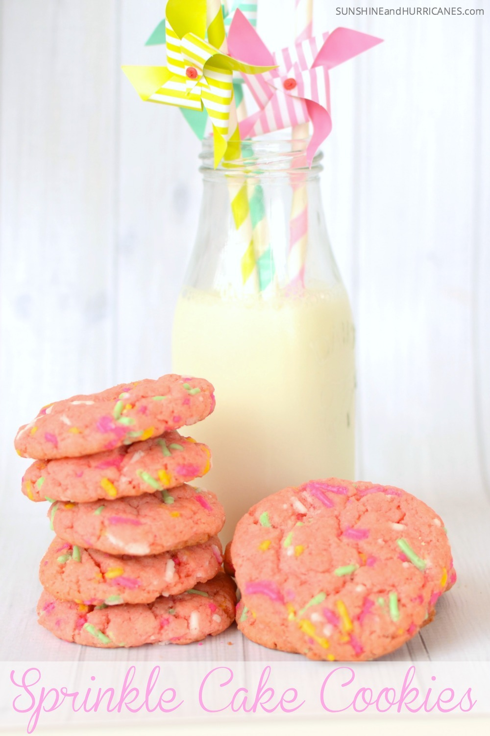 Looking for a quick and easy cookie recipe for a class party, bake sale or even a princess tea party? These tasty cake box cookies are so easy to make and can even be customize to your own tastes or even a theme. Bake them together with your kids or they are even easy enough for older kids to make themselves. Sprinkle Cake Cookies. SunshineandHurricanes.com