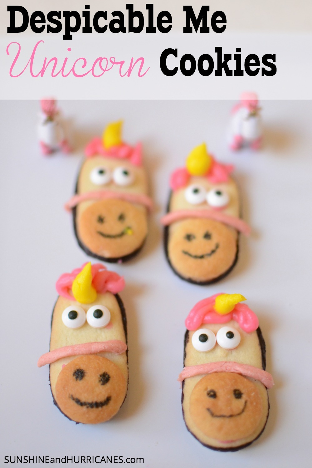 Planning a Despicable Me or a Minion Birthday party? These adorable unicorn cookies from the Despicable Me movie are easy to make and totally adorable. They'll be the talk of the festivities. Despicable Me Unicorn Cookies. SunshineandHurricanes.com