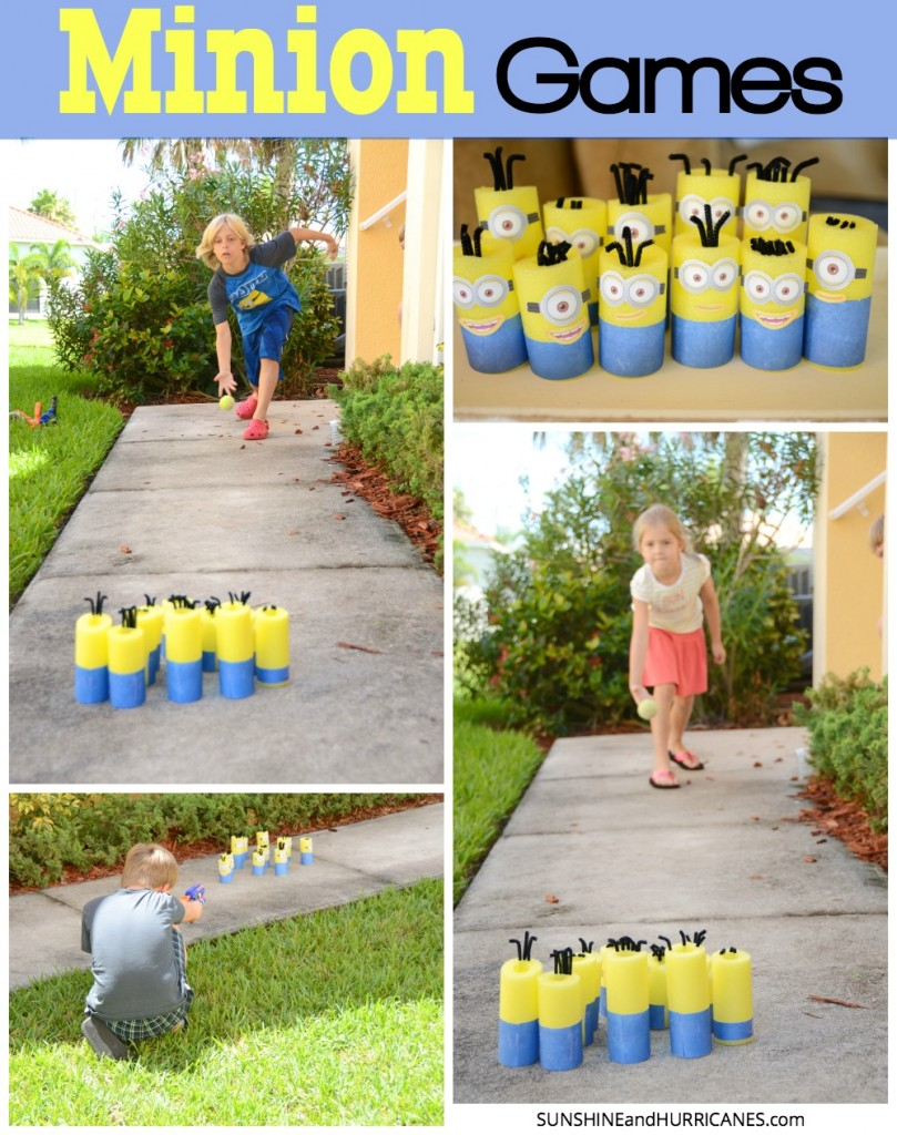 Looking for fun activities for a Minion or Despicable Me Themed Birthday Party? What about an easy way to have some fun with the kids any time? These easy to create pool noodle minions are perfect for nerf games or bowling. Super cute for all sorts of Minion mayhem. Minion Games. SunshineandHurricanes.com