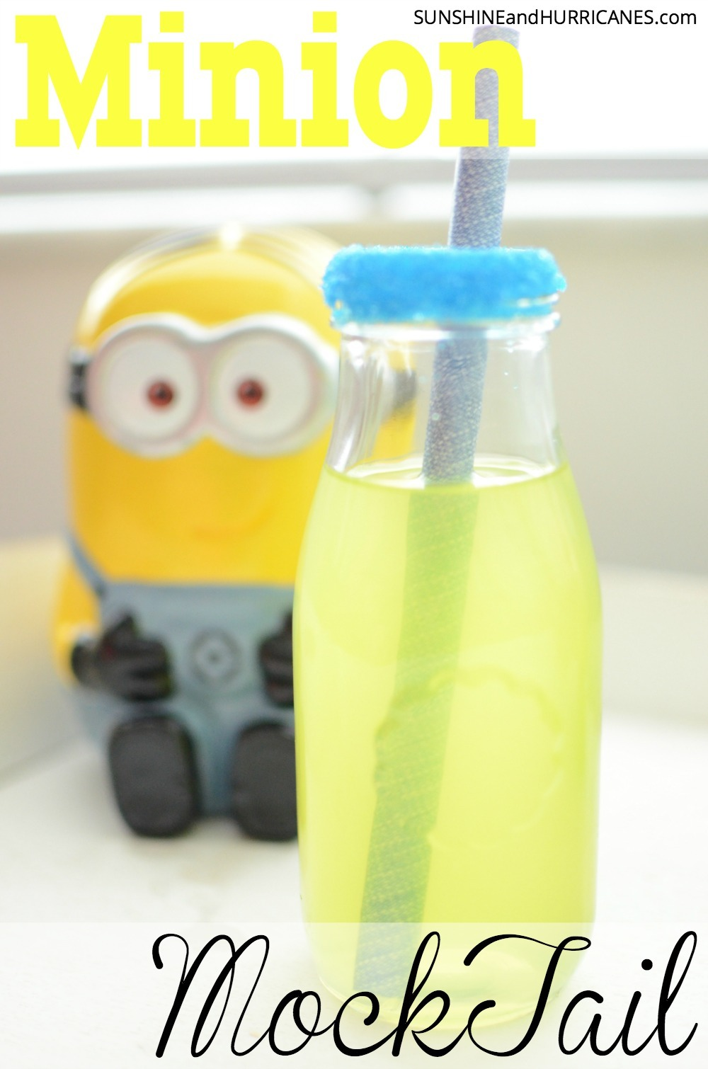 Looking for a cute and tasty drink to serve at a Despicable Me or Minion Birthday Party? What about just a fun beverage on a hot day? This Minion Mocktail is the perfect choice to add a little something sweet to any day. Minion Mocktail. SunshineandHurricanes.com