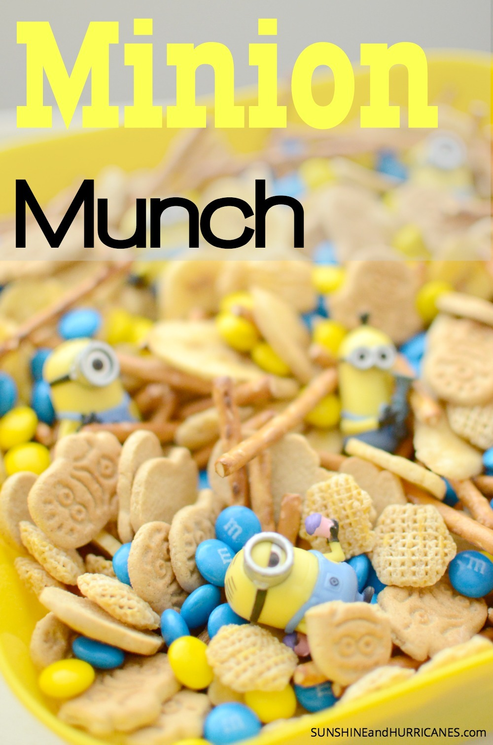 Anyone mad about Minions in your house? Whether you are throwing a minion themed Birthday party or just looking for a fun snack to feed the kiddos any old day, this Minion Munch Snack Mix is super easy to make and will absolutely guarantee tons of minion fun. Minion Munch. SunshineandHurricanes.com