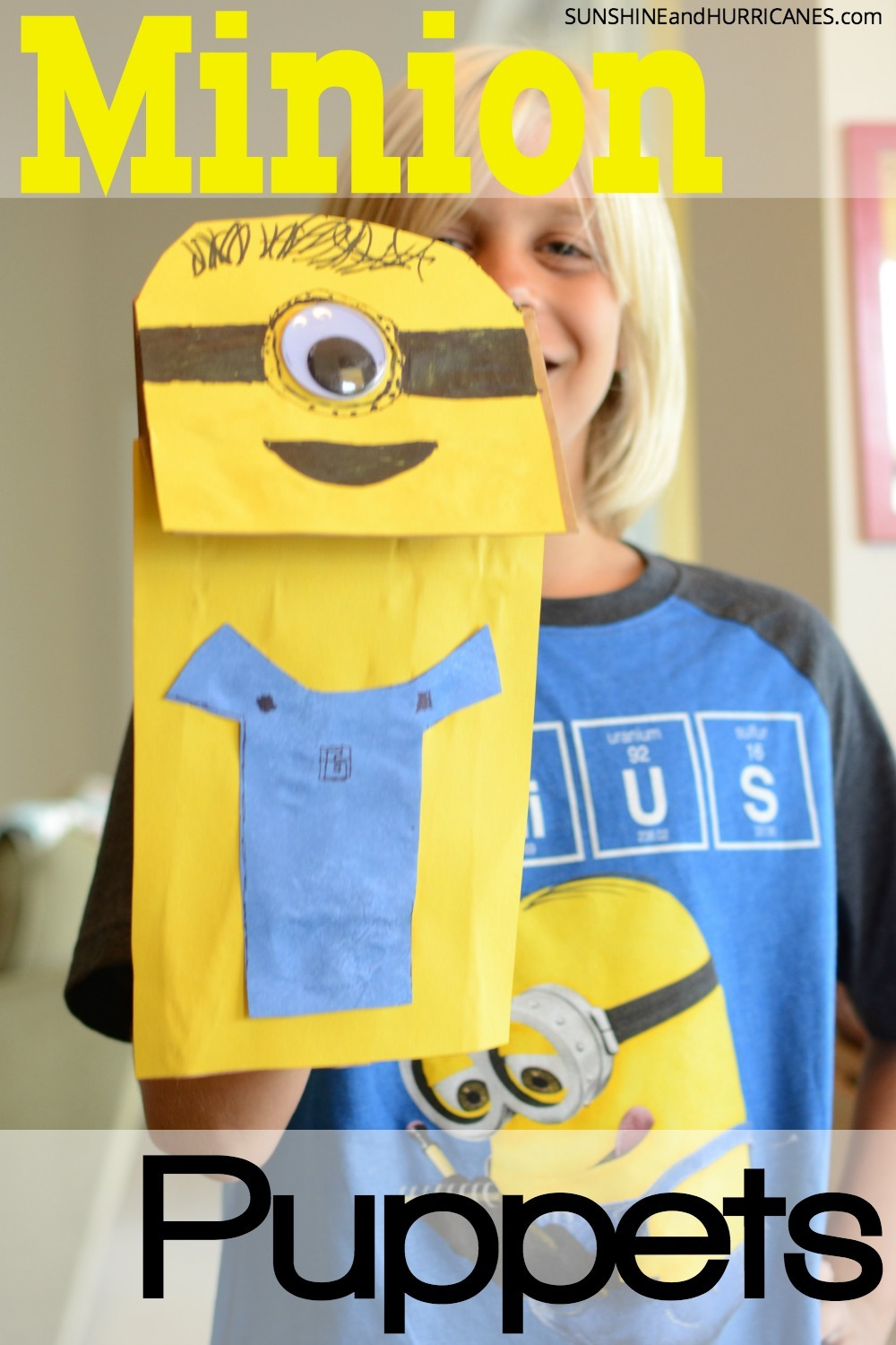 Do you have some little minion lovers in your household? Here is a super easy paper bag puppet craft for kids that will provide tons of minion fun!  Minion Puppets. SunshineandHurricanes.com