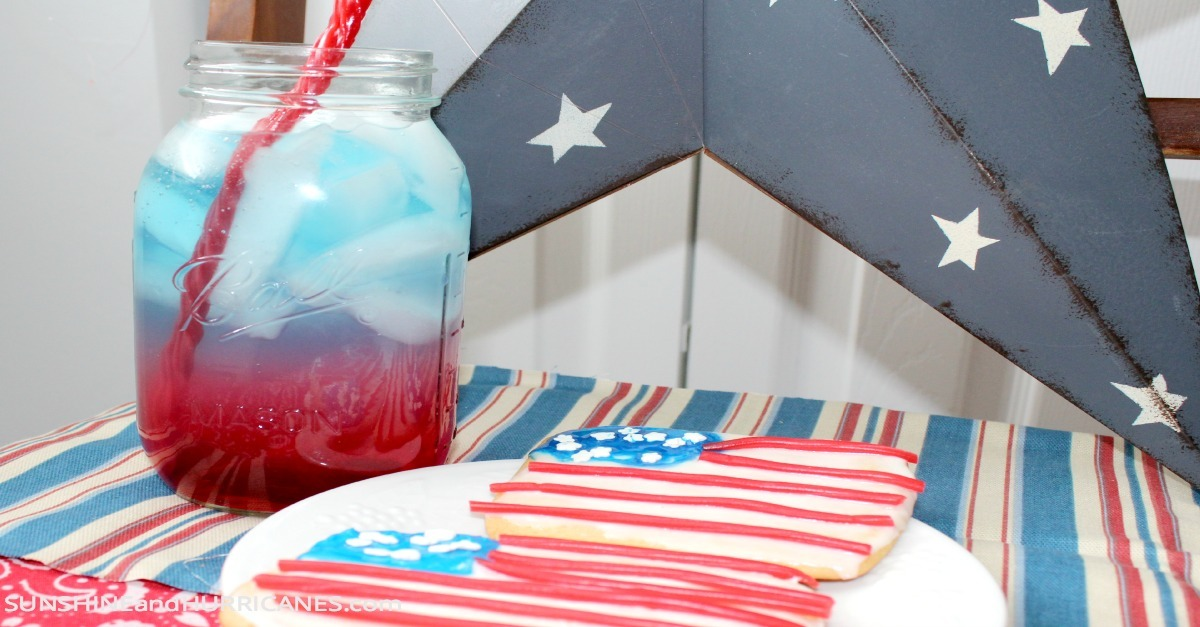 Flag Cookies and Patriotic Punch 4th of July