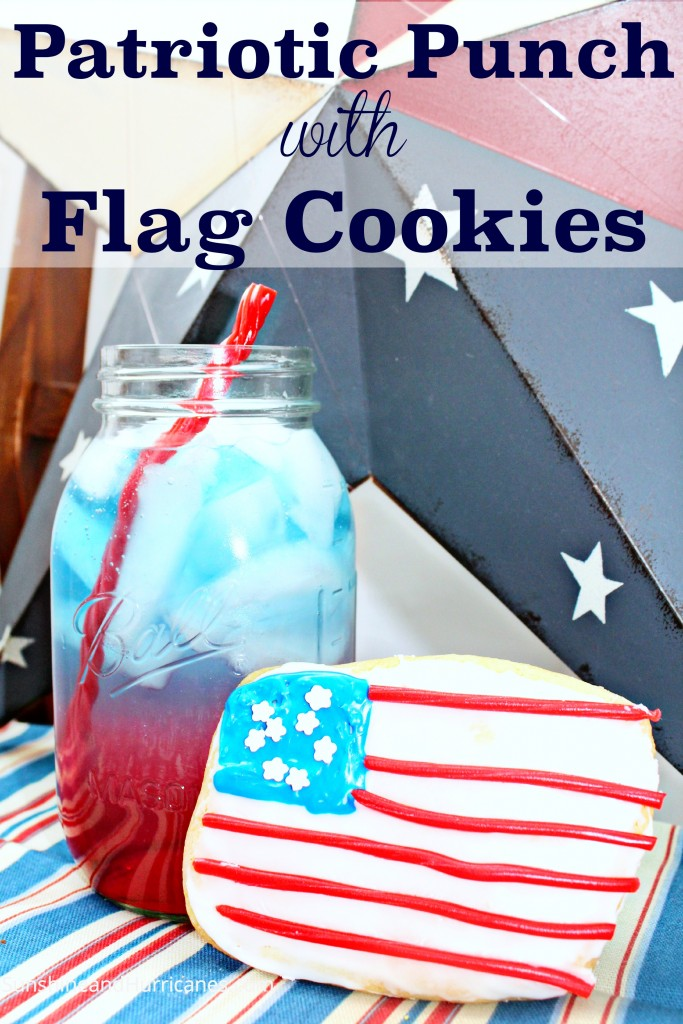 Patriotic Punch With Flag Cookies is perfect for the 4th of July, Memorial Day or any holiday that needs red, white, and blue! Kids can make, easy to create
