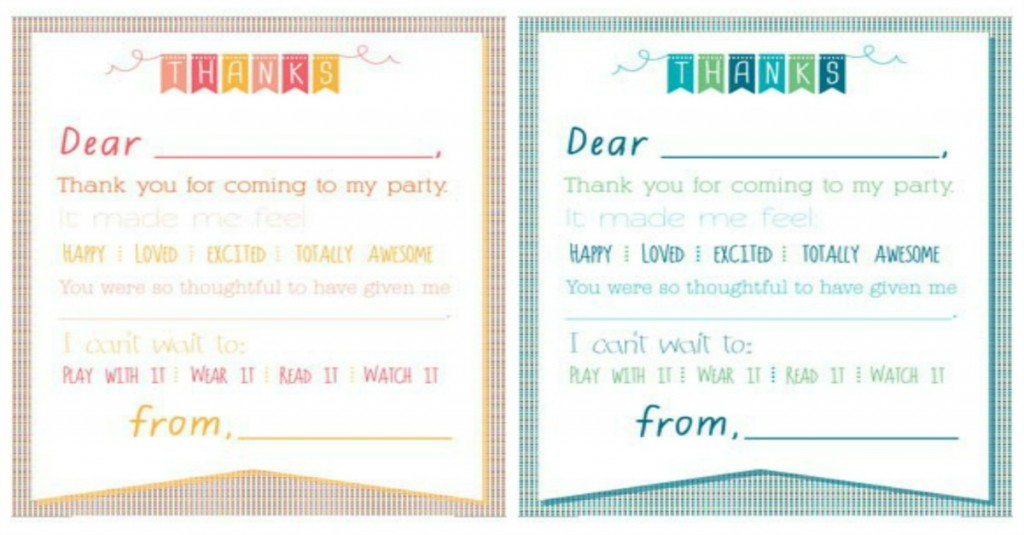 Printable Birthday Thank You Notes FB