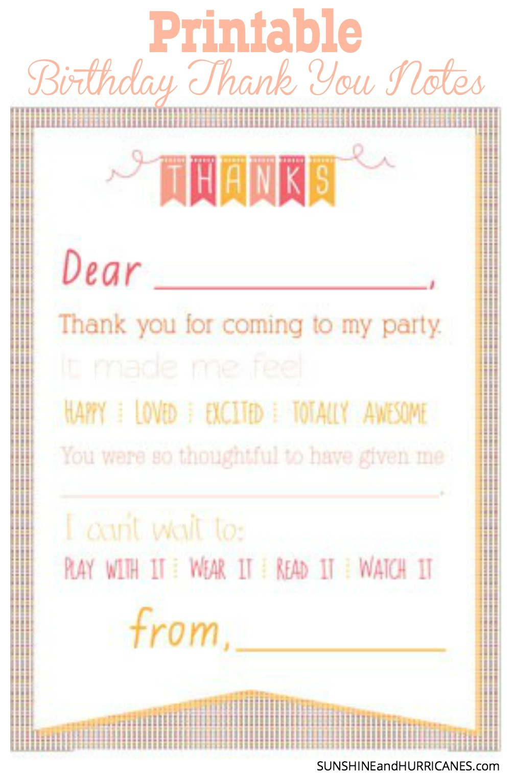 Printable Birthday Thank You Notes