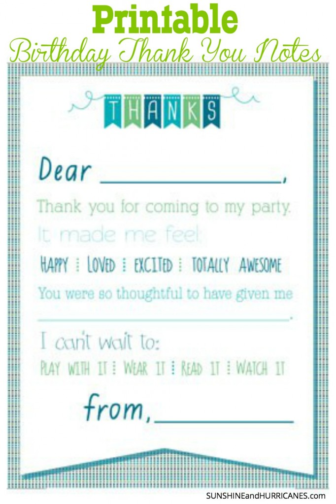 Looking for a cute and simple way to take care of Thank You Notes for a Child's Birthday? You want them to have good manners, but writing all those notes can be such a chore. Here are easy Printable Birthday Thank You Notes for Boys and Girls that a child will enjoy doing and sending. SunshineandHurricanes.com