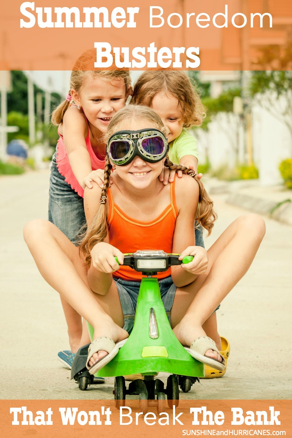 """Usually it takes less than 48 hours after school gets out for moms to hear the dreaded """"I'm Bored"""". Be ready to bust those summer blues with this HUGE list of Summer Boredom Busters that are all budget friendly and in most cases totally free. SunshineandHurricanes.com"""