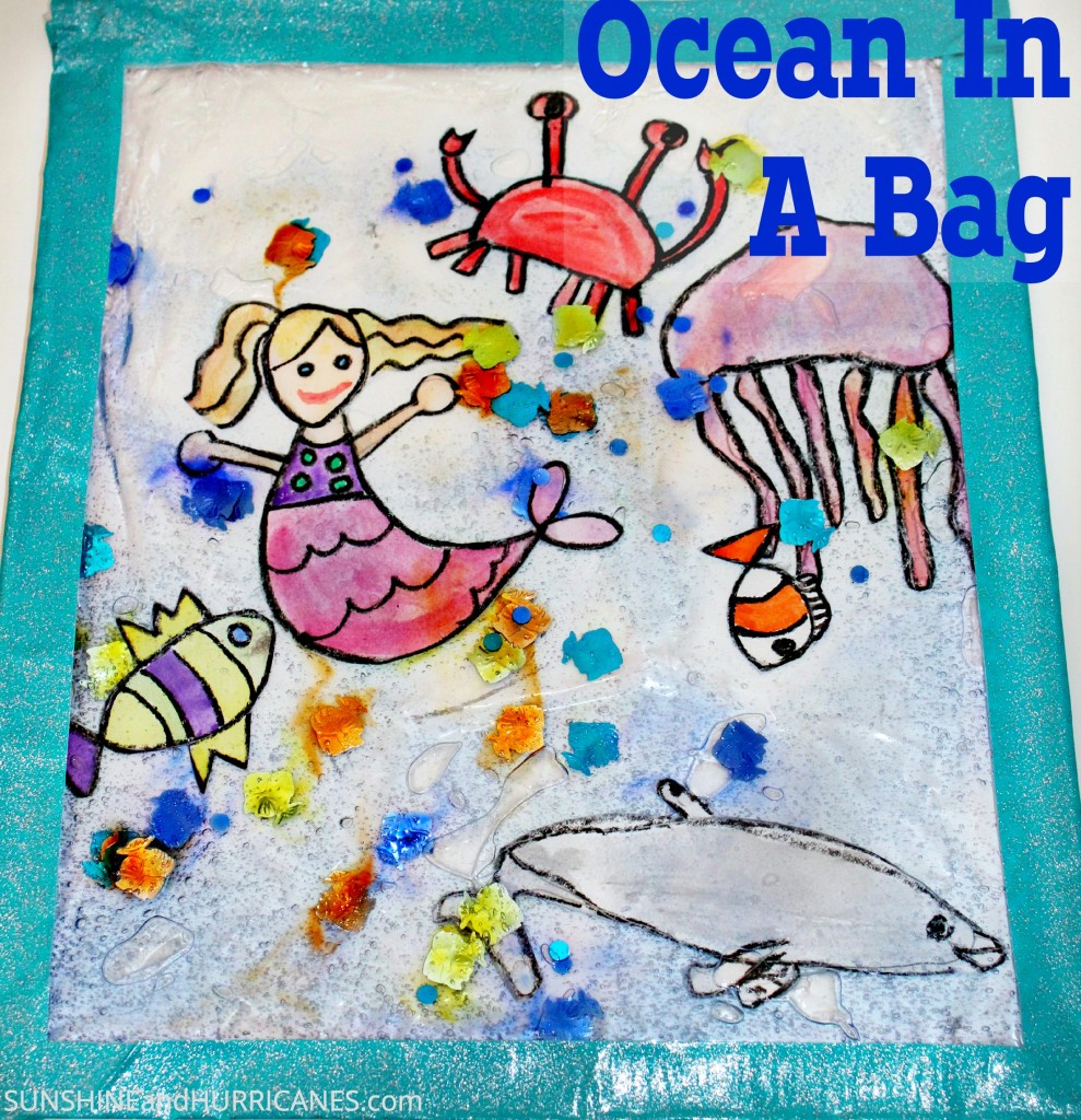 Simple and easy project, the Ocean In A Bag Kid's Craft is fun for kids of all ages and helps with sensory play, creativity, and journaling skills.