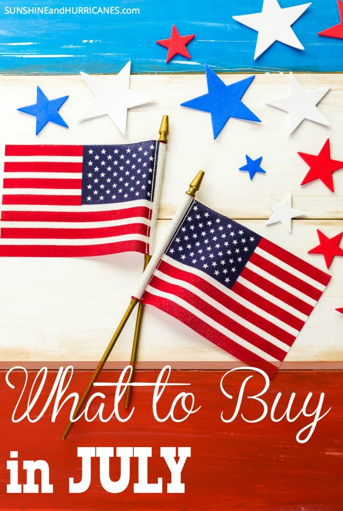 "Want to be ""in the know"" about all the best bargains all year round? There is a time of year when almost everything we buy for our lives and our homes is at its best price. Find out the secret and save a bundle while helping to keep your budget on track. What to Buy in July. SunshineandHurricanes.com"