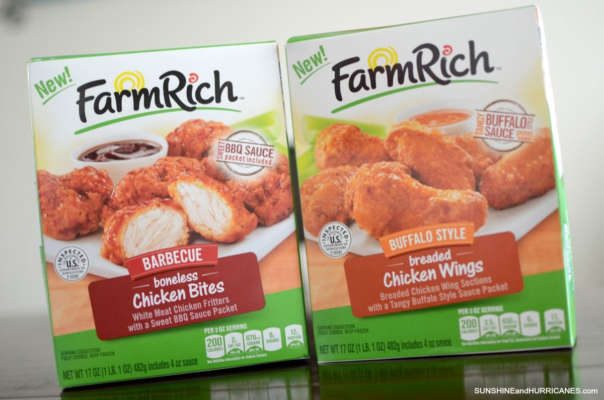 Looking for a quick after school snack or great game day snack? Farm Rich BBQ boneless chicken  bites and Bone-In Buffalo Wings are quick, easy and taste great. Give a try with our 4 easy dip Recipes. SunshineandHurricanes.com